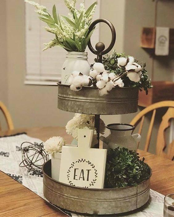 A Multi-tiered Tray - Simple Dining Table Centrepiece Ideas