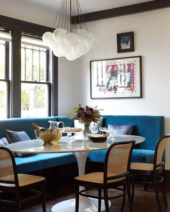 Blue Banquette Seating - Great for a Corner