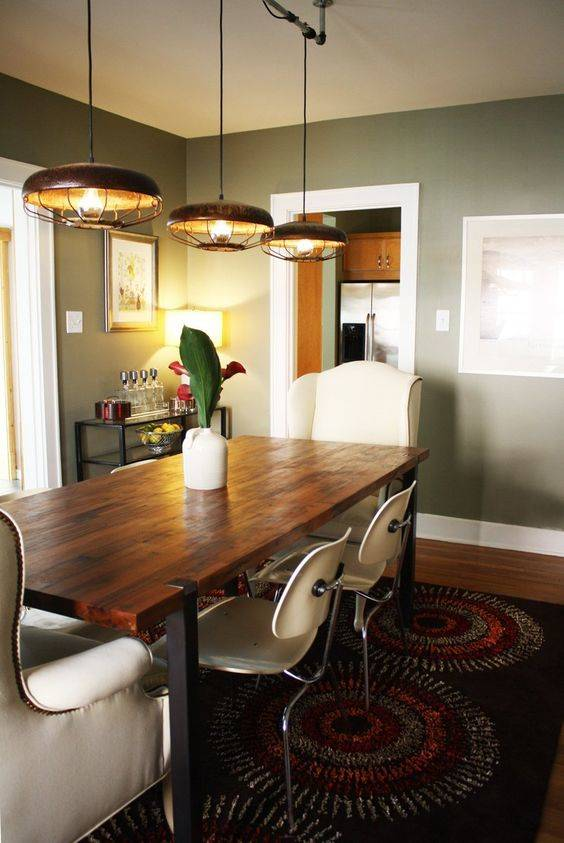 Old-fashioned and Industrial - Dining Room Lighting Fixture Ideas