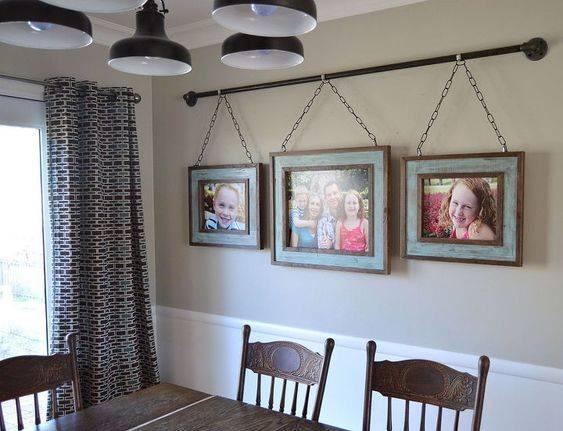 Hanging the Frames - Dining Room Wall Ideas