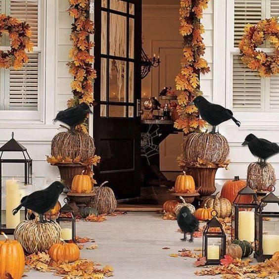 Pumpkins and Crows - Autumn Front Porch Decorating