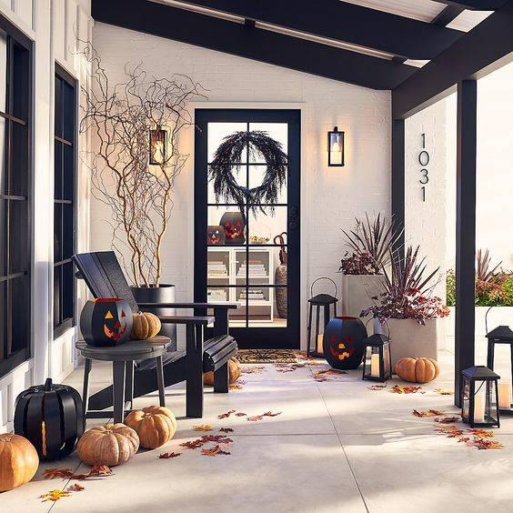 Black and Eerie - Fall Porch Decorations