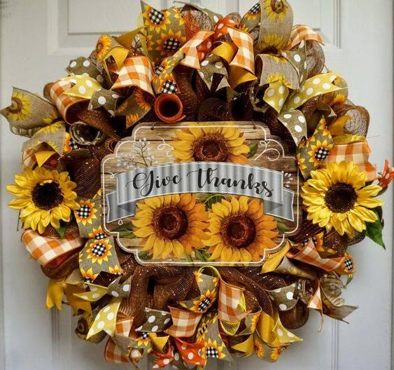 Happy and Bright - Thanksgiving Wreaths for Front Door