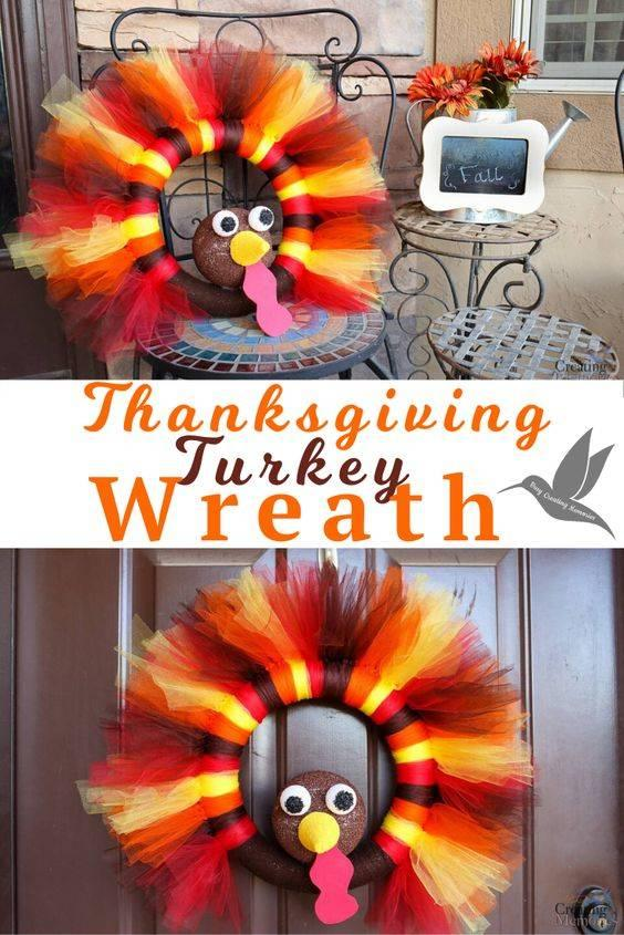A Turkey in Tulle - Thanksgiving Wreaths for Front Door