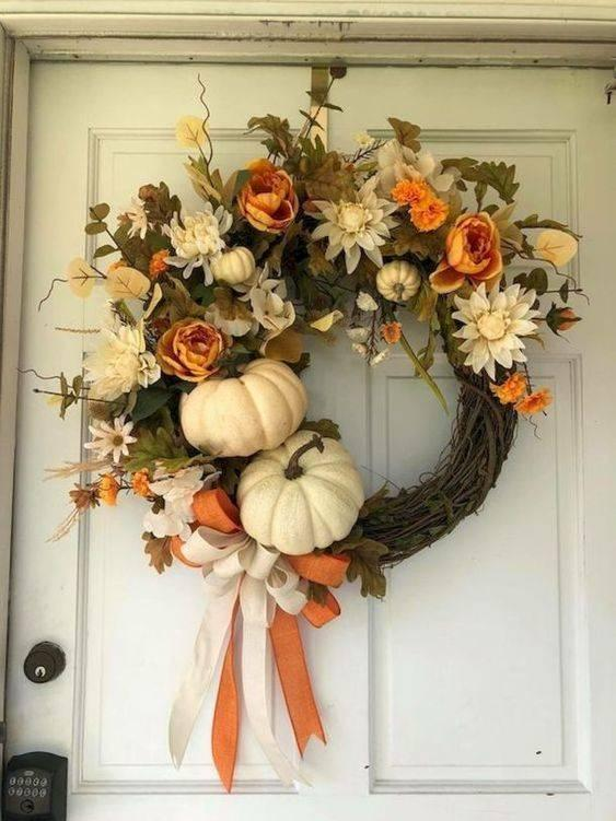 Flowers and Pumpkins - Thanksgiving Wreaths for Front Door