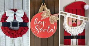 20 SANTA CLAUS DOOR DECORATIONS - Santa Claus Wreath Ideas
