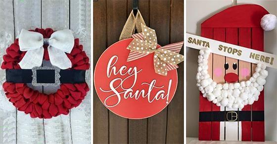 20 SANTA CLAUS DOOR DECORATIONS - Santa Claus Wreath Ideas