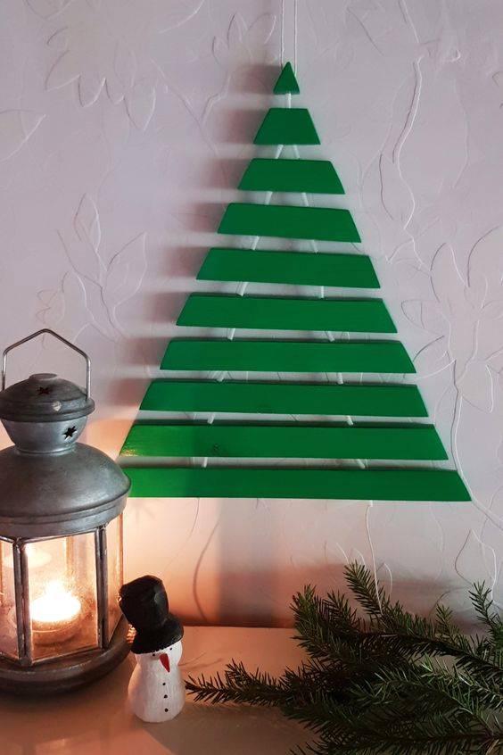 Green Wooden Panels - Wall Hanging Christmas Tree