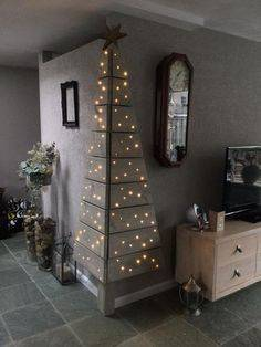 An Outer Corner - Wall Christmas Tree Ideas